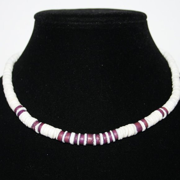 """White shell and purple beaded necklace 16"""""""
